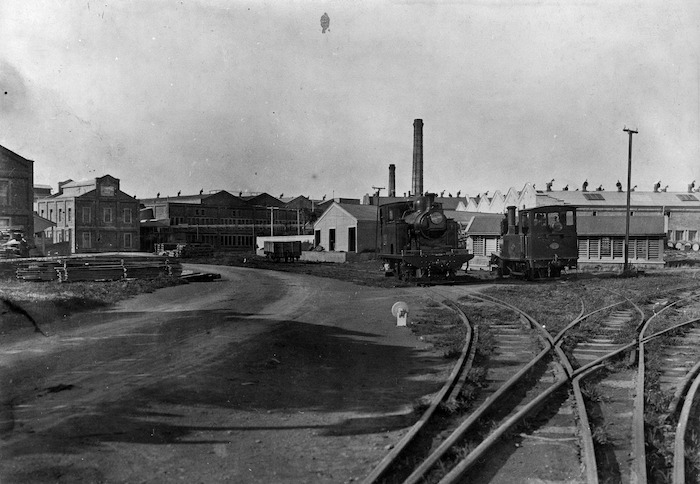 Two railway engines outside the Gear Meat Company, Petone