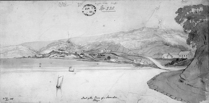 Fox, William 1812-1893 :Part of the town of Dunedin, Otago. W. Fox. Jan. 1849