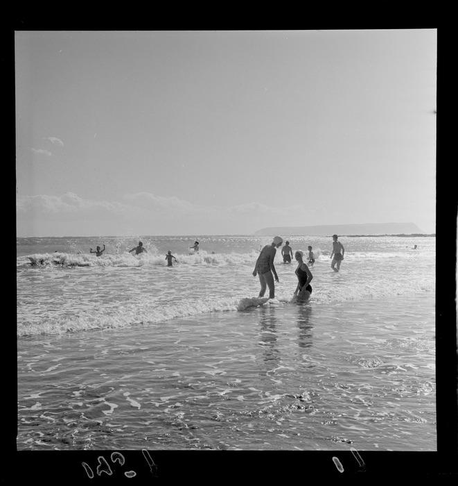Swimmers at Paremata beach, Porirua