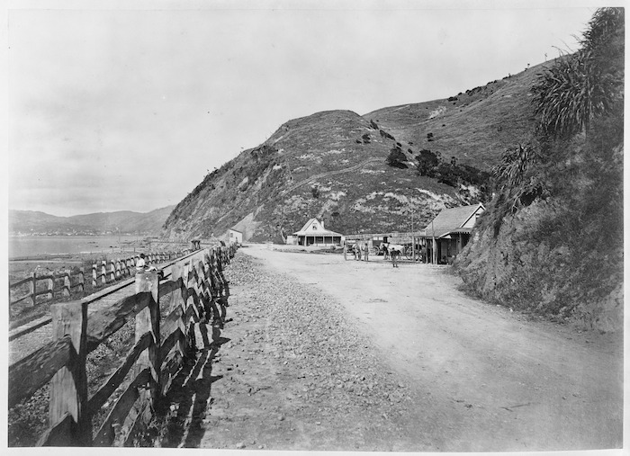 Creator unknown: Photograph taken by James Bragge at Ngauranga, Wellington, with the White Horse Hotel