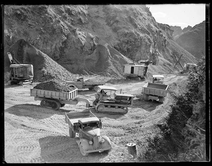 Excavators, bulldozers and trucks assembled at Ngauranga Gorge