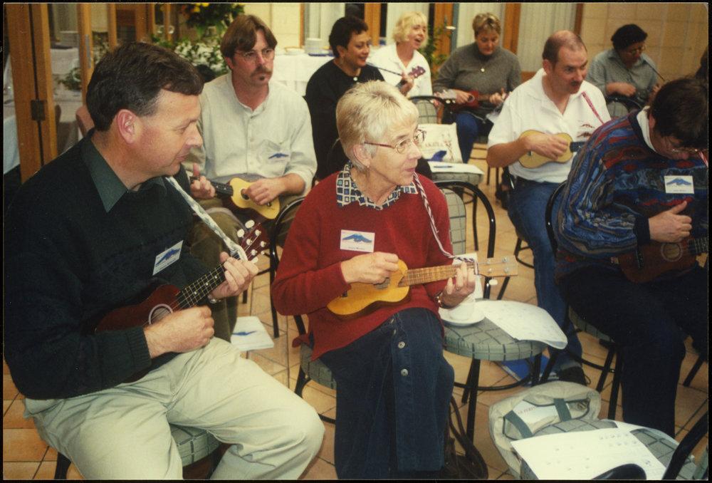 Playing ukeleles, Rural Teaching Principals' Conference 2000