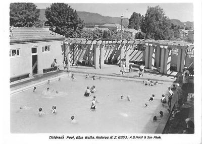 Childrens pool, Blue Baths. Postcard