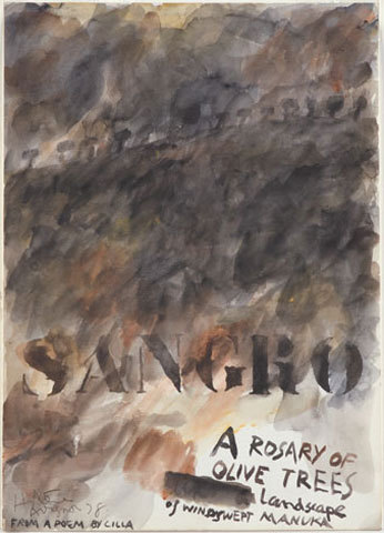 Sangro, a rosary of olive trees, landscape of windswept manuka.