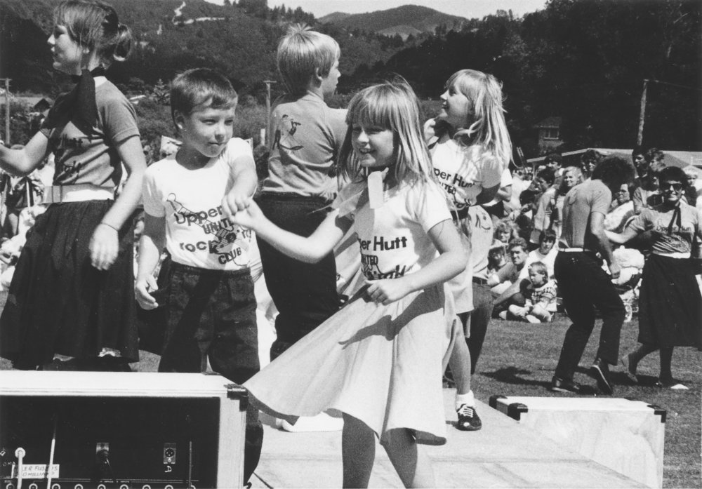 Summer Carnival 1987, Trentham Memorial Park; Rock 'n' rollers Aaron Haswell and Rachel Parsley, 7; Clinton Haswell and Tracy Parsley, 10, beyond.