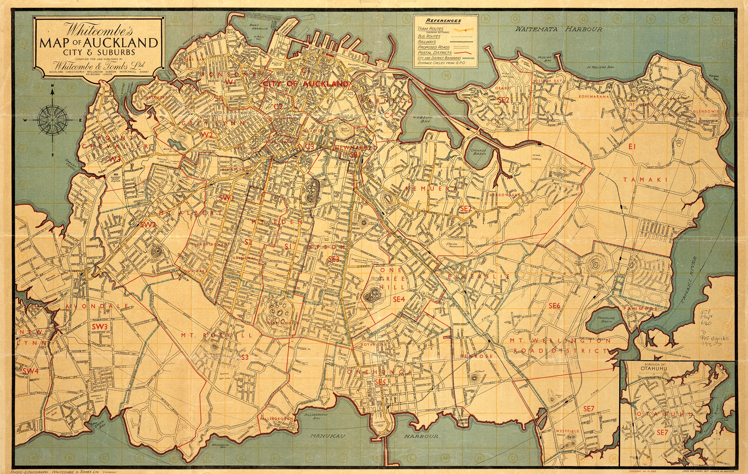 whitcombes map of auckland city and suburbs
