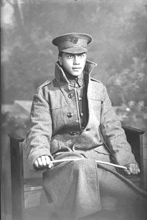 3/4 portrait of Private Percy Rameka, Reg No 16/1574, of the 5th Maori Contingent, New Zealand Maori Pioneer Battalion. Died at sea en route to New Zealand from France on 26 May 1918.