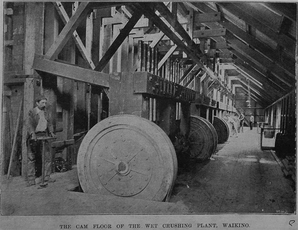 The cam floor of the wet crushing plant, Waikino