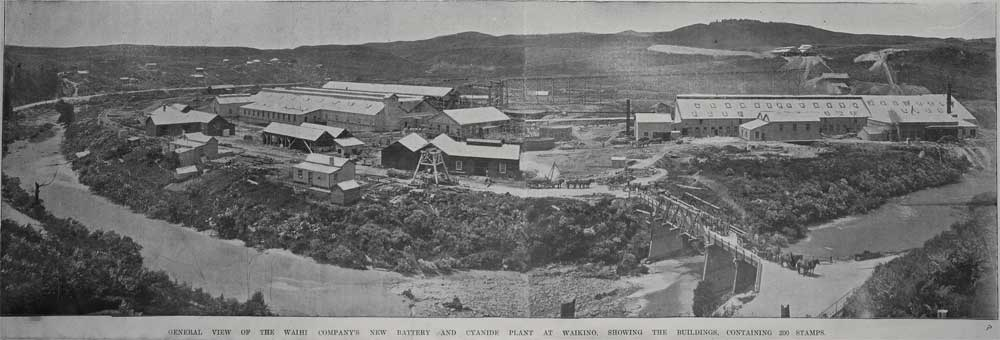 Showing a general view of the Waihi Company's new battery and cyanide plant at Waikino, showing the buildings containing 200 stamps