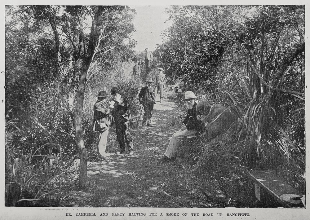 Dr Campbell and party halting for a smoke on the road up Rangitoto.