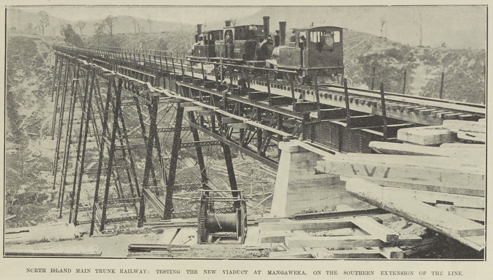 NORTH ISLAND MAIN TRUNK RAILWAY: TESTING THE NEW VIADUCT AT MANGAWEKA, ON THE SOUTHERN EXTENSION OF THE LINE.