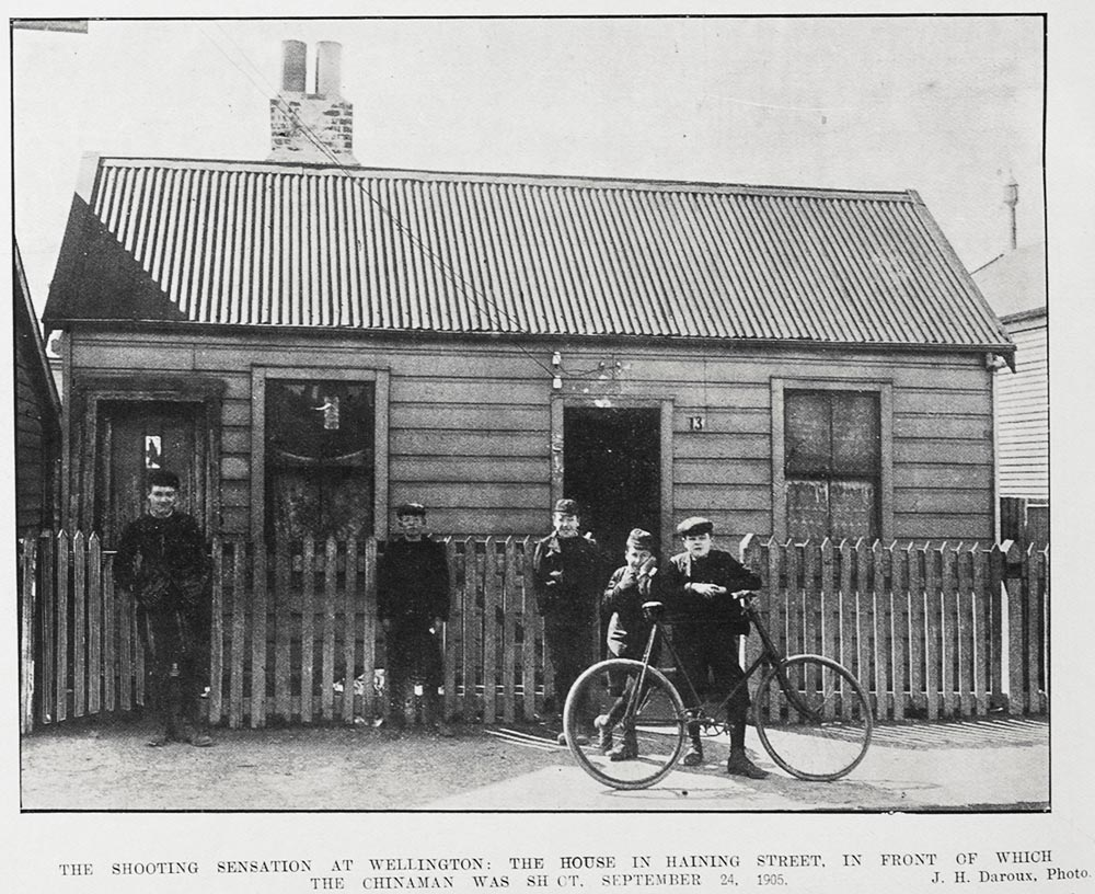 THE SHOOTING SENSATION AT WELLINGTON: THE HOUSE IN HAINING STREET, IN FRONT OF WHICH THE CHINAMAN WAS SHOT, SEPTEMBER 24, 1905.