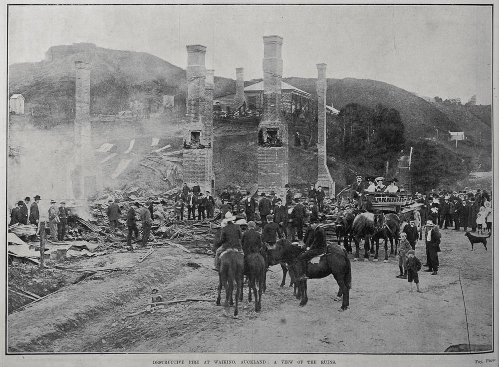 DESTRUCTIVE FIRE AT WAIKINO, AUCKLAND: A VIEW OF THE RUINS.