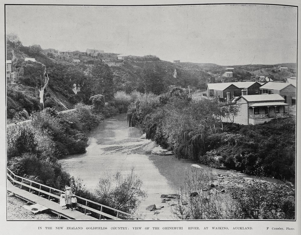 IN THE NEW ZEALAND GOLDFIELDS COUNTRY: VIEW OF THE OHINEMURI RIVER. AT WAIKINO, AUCKLAND.
