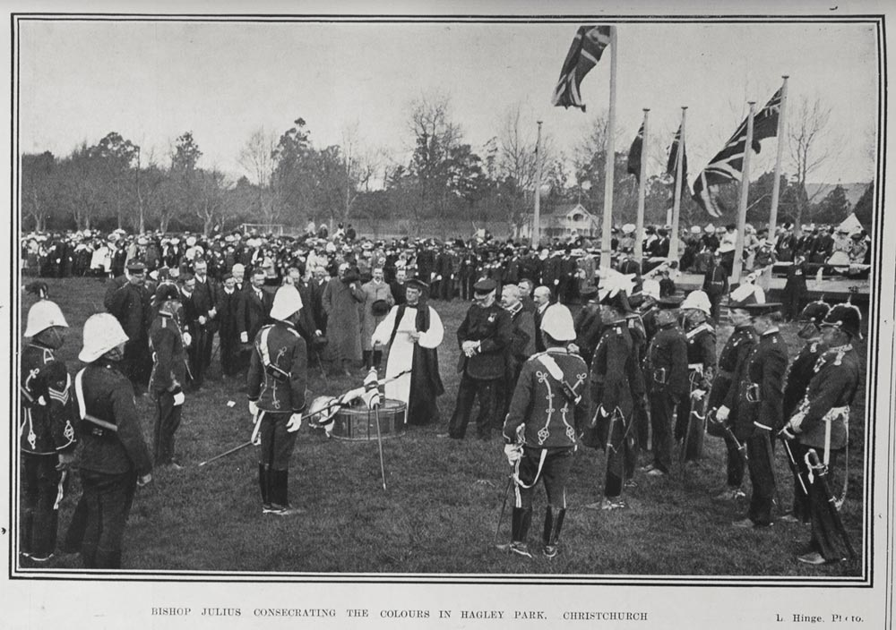 BISHOP JULIUS CONSECRATING THE COLOURS IN HAGLEY PARK, CHRISTCHURCH.