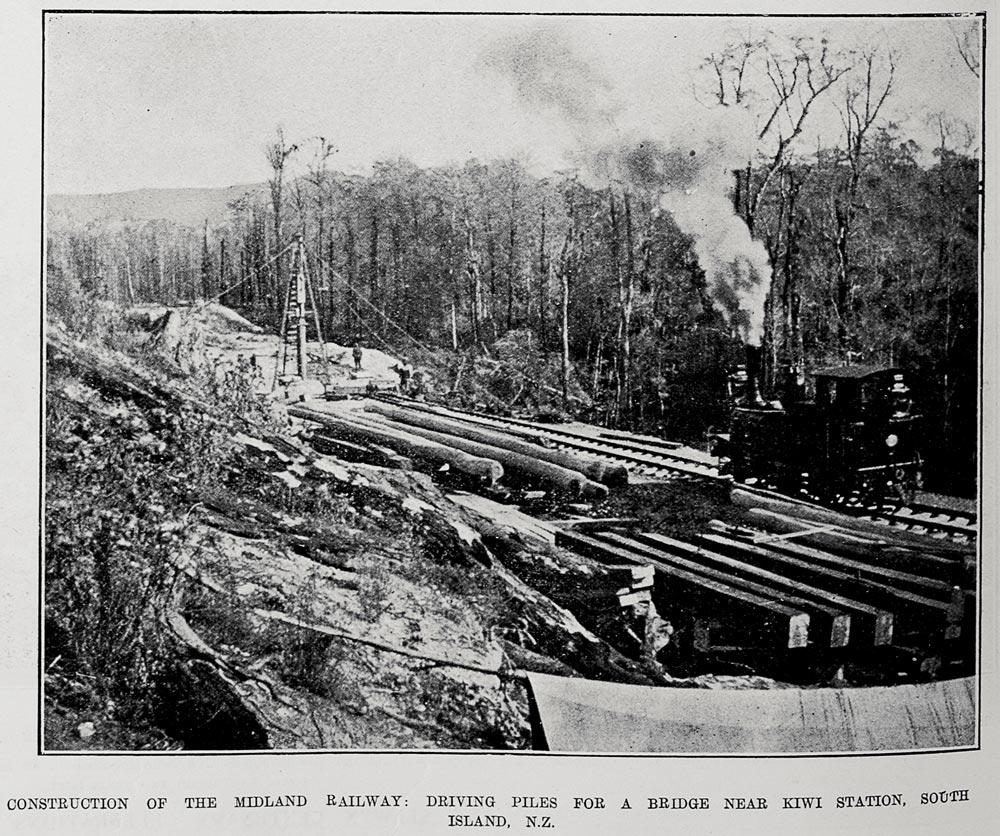 CONSTRUCTION OF THE MIDLAND RAILWAY: DRIVING PILES FOR A BRIDGE NEAR KIWI STATION, SOUTH ISLAND, N.Z.