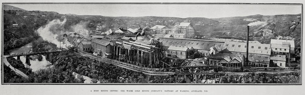 A BUSY MINING CENTRE: THE WAIHI GOLD MINING COMPANY'S BATTERY AT WAIKINO, AUCKLAND, N.Z.
