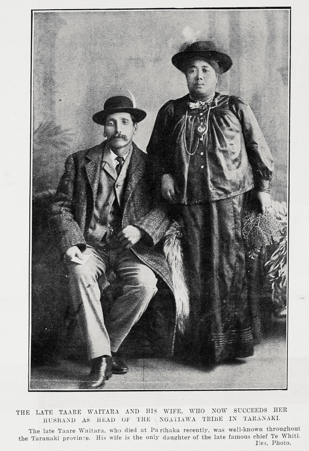 THE LATE TAARE WAITARA AND HIS WIFE, WHO NOW SUCCEEDS HER HUSBAND AS HEAD OF THE NGATIAWA TRIBE IN TARANAKI.