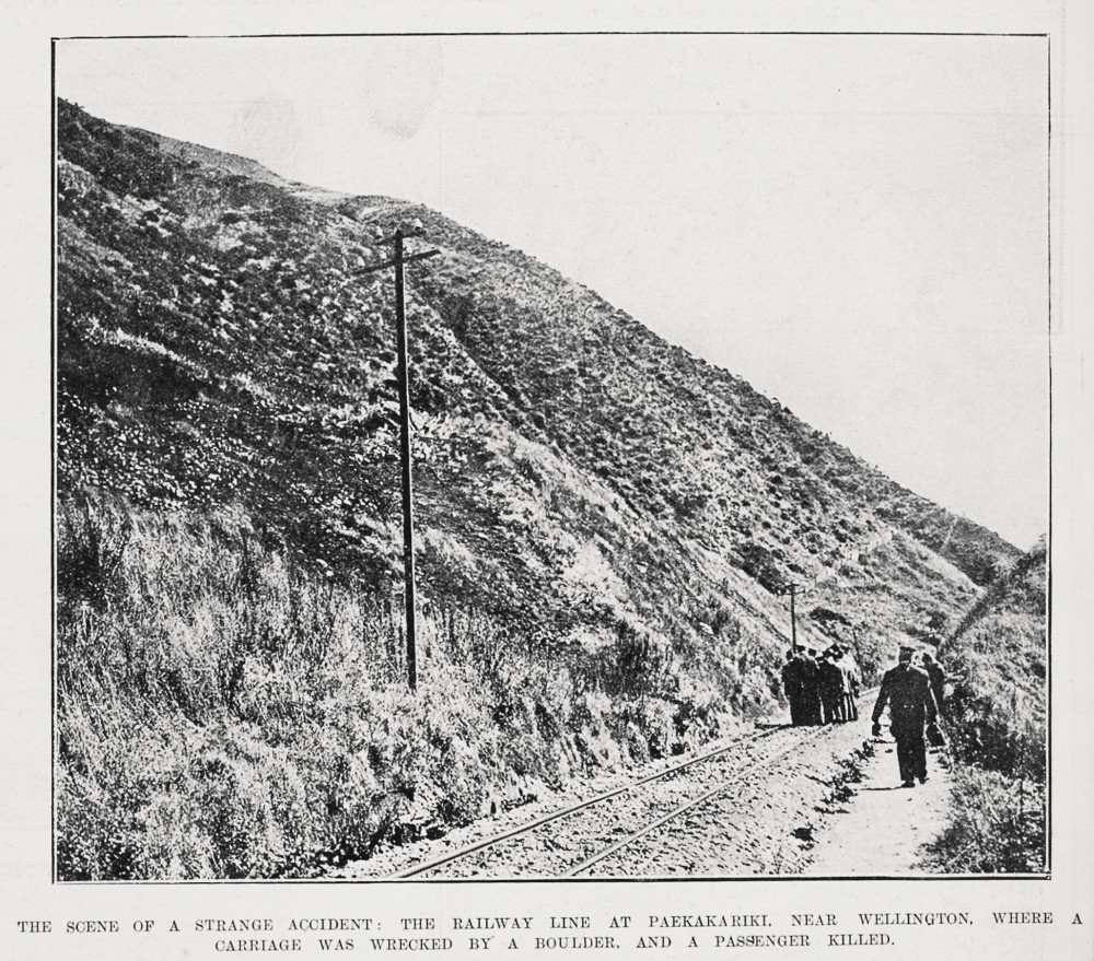 THE SCENE OF A STRANGE ACCIDENT: THE RAILWAY LINE AT PAEKAKARIKI, NEAR WELLINGTON, WHERE A CARRIAGE WAS WRECKED BY A BOULDER, AND A PASSENGER KILLED.