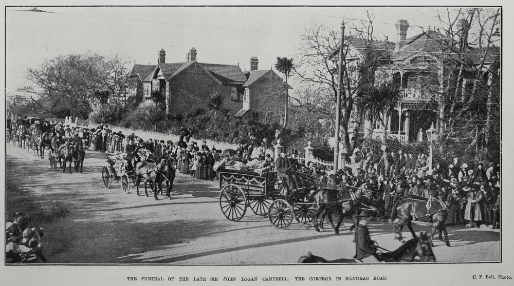 THE FUNERAL OF THE LATE SIR JOHN LOGAN CAMPBELL: THE CORTEGE IN MANUKAU ROAD.