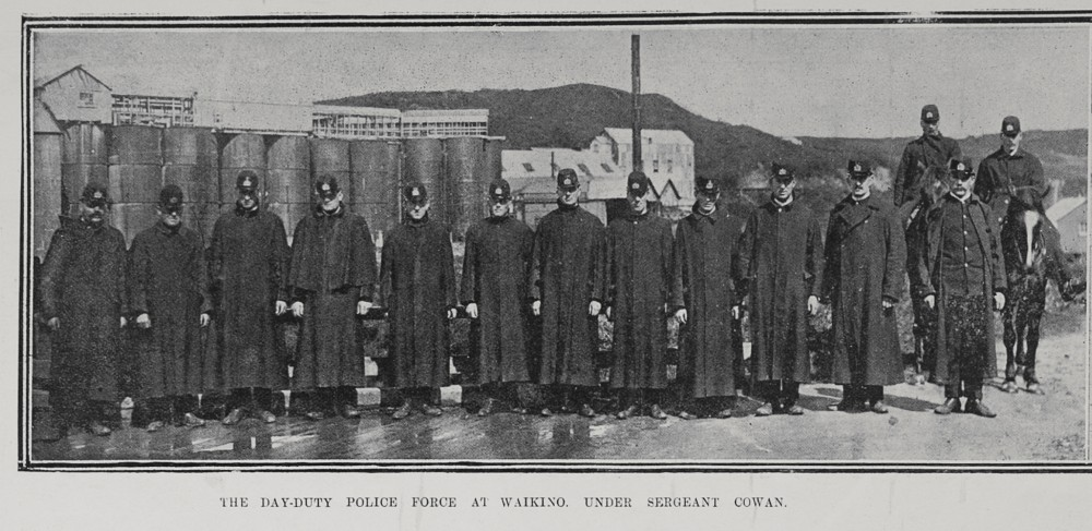 THE DAY-DUTY POLICE FORCE AT WAIKINO, UNDER SERGEANT COWAN.