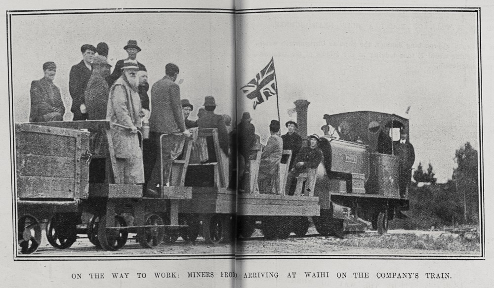 ON THE WAY TO WORK: MINERS FROM WAIKINO ARRIVING AT WAIHI ON THE COMPANY'S TRAIN.