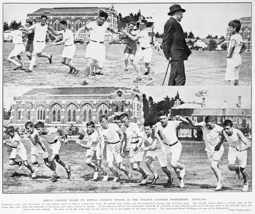 KING'S COLLEGE HOLDS ITS ANNUAL ATHLETIC SPORTS AT THE COLLEGE GROUNDS, MIDDLEMORE. AUCKLAND.