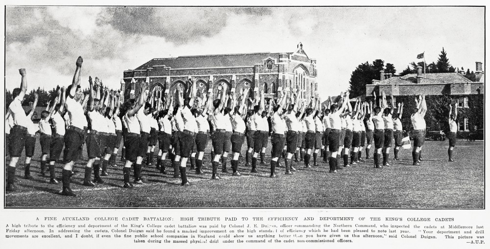 A FINE AUCKLAND COLLEGE CADET BATTALION : HIGH TRIBUTE PAID TO THE EFFICIENCY AND DEPORTMENT OF KING'S COLLEGE CADETS.