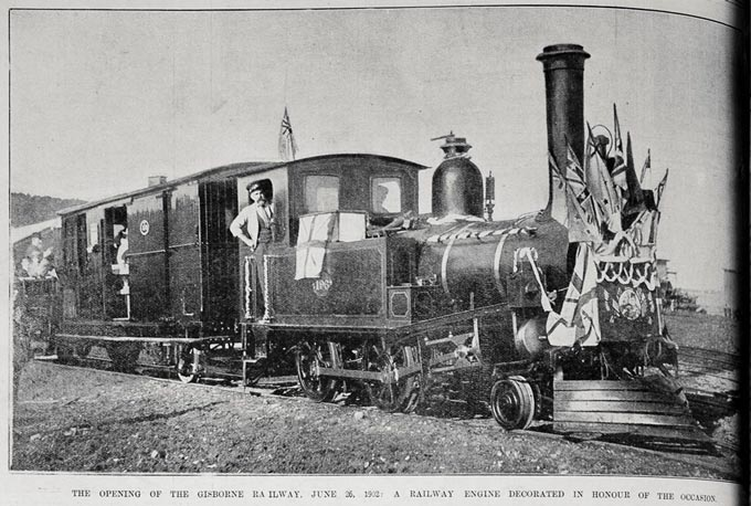 The opening of the Gisborne-Auckland railway, 26 June 1902: a railway engine decorated in honour of the occasion