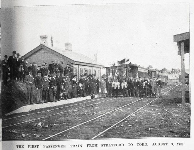 The first passenger train from Stratford to Toko, 9 August 1902