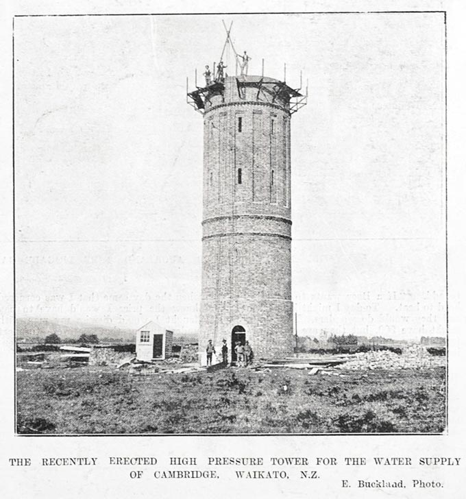 The recently erected high pressure tower for the water supply for Cambridge