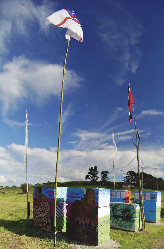 Protest signs and flags on Ihumatao Quarry Road, Mangere