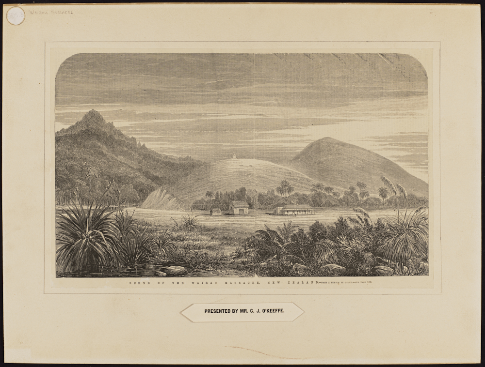 Scene of the Wairau Massacre, New Zealand, from a sketch by Gully