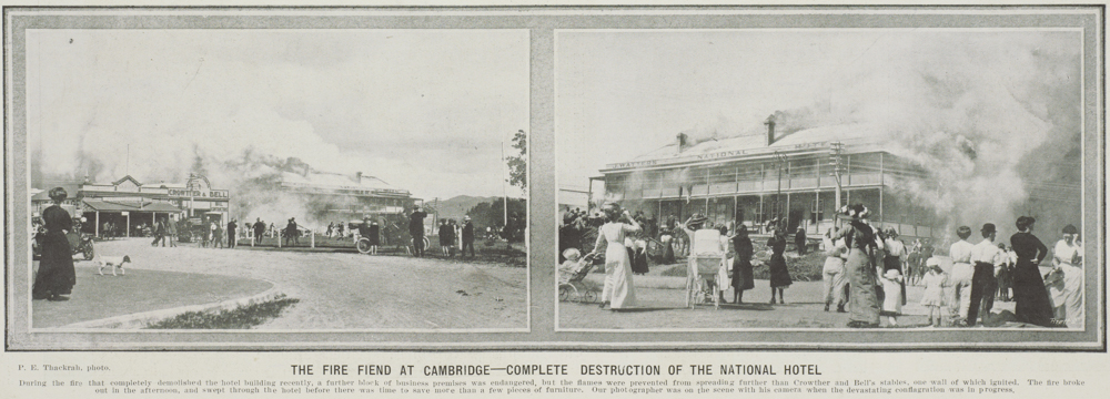 The Fire Fiend at Cambridge - complete destruction of th National Hotel
