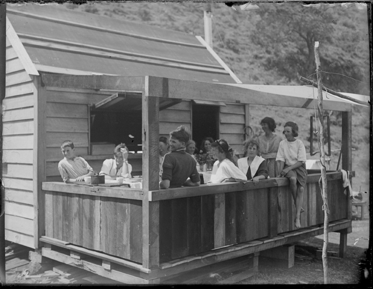 Group on verandah at Whatipu