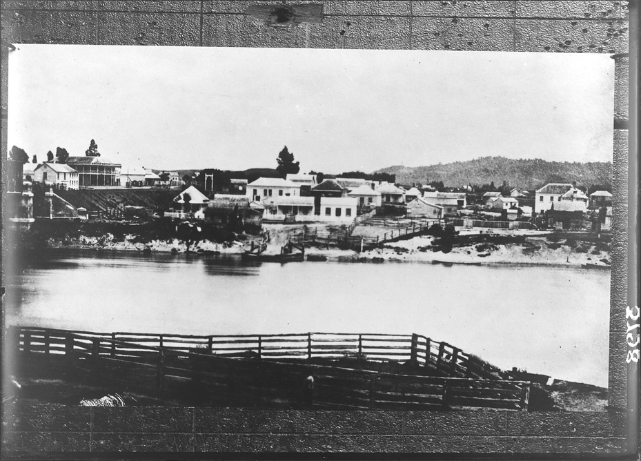 Looking south from the Waikato River to Ngaruawahia...1876-77
