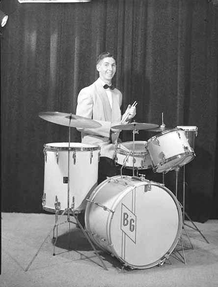 Portrait of Mr Ray Godward with drum kit