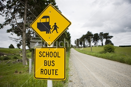 School bus sign on a country road