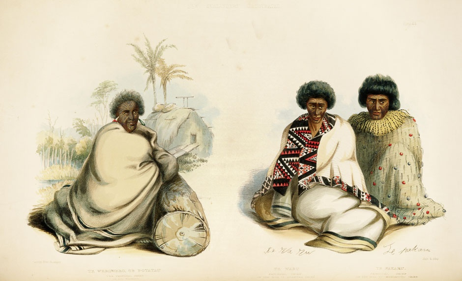 Painting of Pōtatau Te Wherowhero and two other chiefs