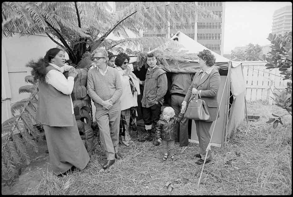 Maori land marchers camp, 1975