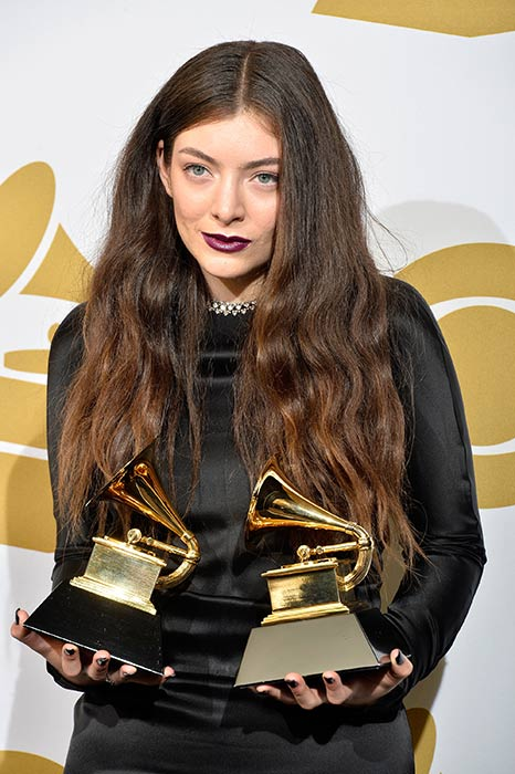 Lorde with her Grammy awards, 2014