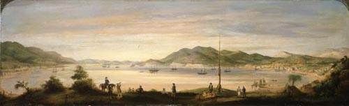 Painting of Wellington harbour and town, 1842, by William Mein Smith