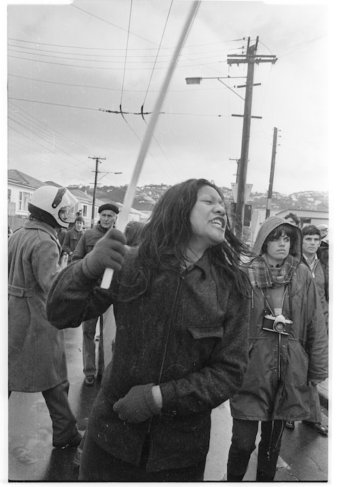 Woman reacting to police violence, Wellington, New Zealand - Photograph taken by Peter Avery