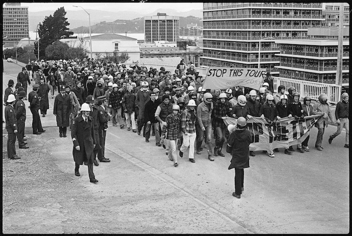 Protesters on Hill Street, Wellington, marching during a demonstration against the 1981 Springbok tour
