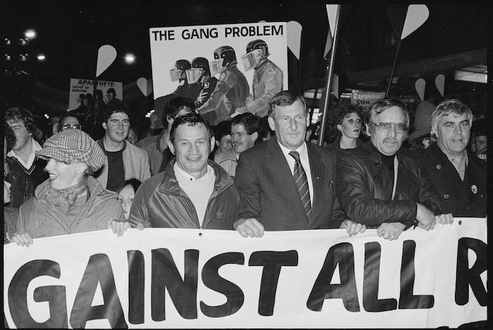 Race relations conciliator Mr Hiwi Tauroa, and the Mayor of Auckland Mr Colin Kaye leading an anti-apartheid march through Auckland