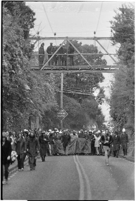Anti Springbok tour demonstration on Lower Watt Street, Wadestown, Wellington