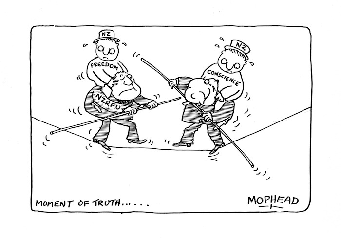 Bromhead, Peter, 1933- :Moment of truth. Auckland Star 1 July 1981.