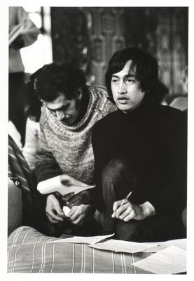 Literature discussion group, Tukaki wharenui, Te Kaha-nui-a-tiki marae, Te Kaha. Witi Ihimaera and Rowley Habib/Hapipi. June 1973