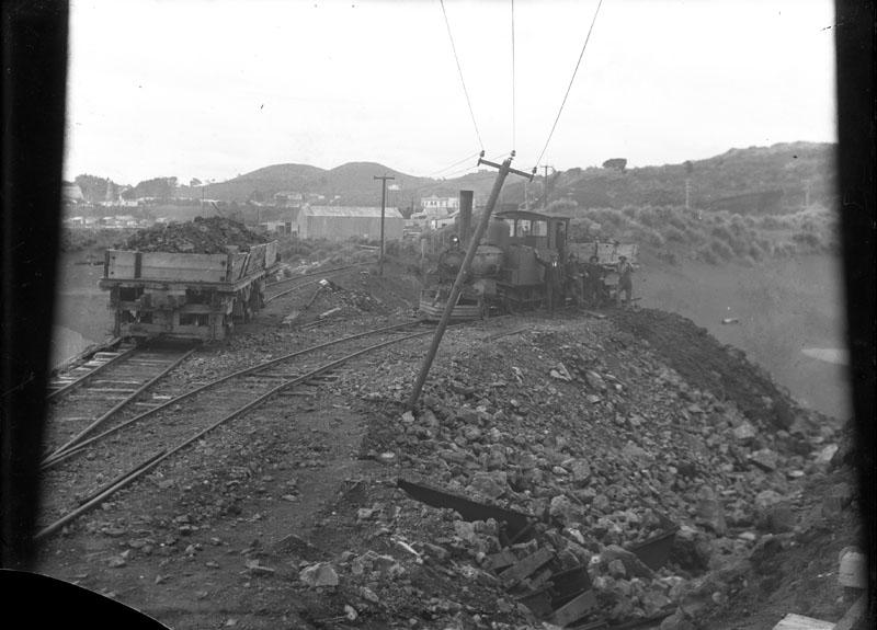 """""""Reclamation of area between Mikotahi and Paritutu using material carted by train. View from Mikotahi looking East."""