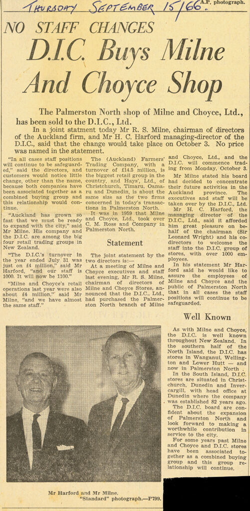 Newspaper article of sale of Milne and Choyce department store to the D.I.C